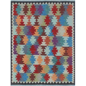 Vallejo Kilim Hand Woven Wool Gray/Red Southwestern Area Rug
