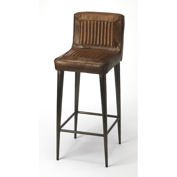 Adalwine Leather 32 Bar Stool by 17 Stories