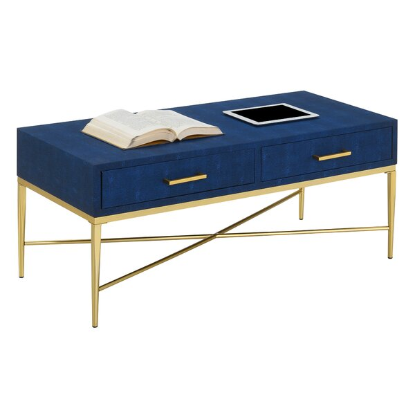 Hesson Cross Legs Coffee Table With Storage By Everly Quinn