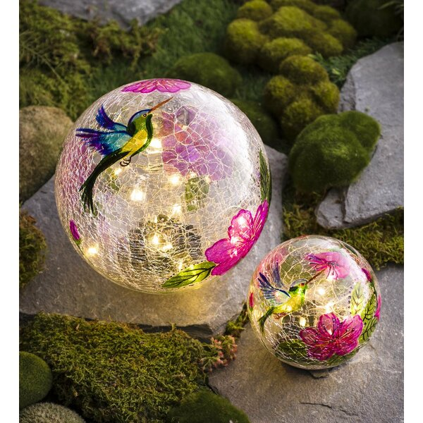 Hummingbird Crackle Glass Solar 2 Piece Gazing Globe Set by Plow & Hearth