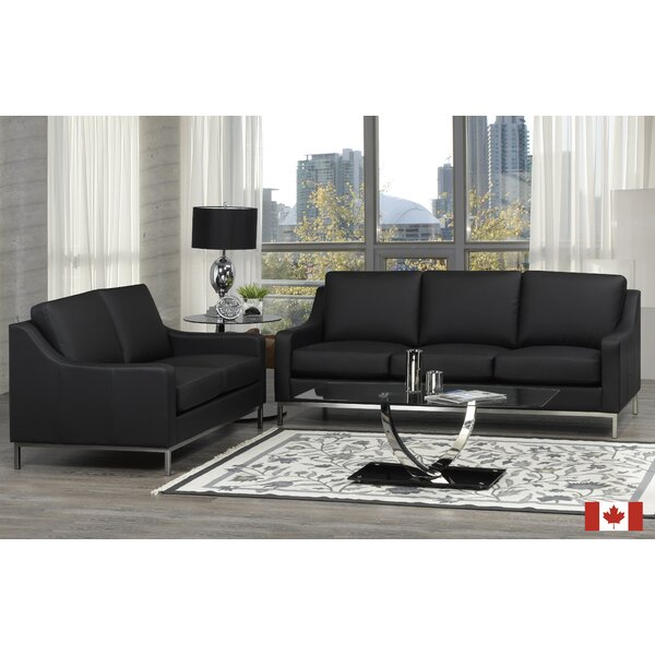 Bland 3 Piece Leather Living Room Set by Rosdorf Park