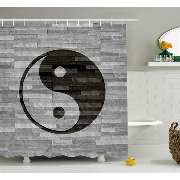 Alejandro Ying Yang Harmony Asian Shower Curtain by Ebern Designs