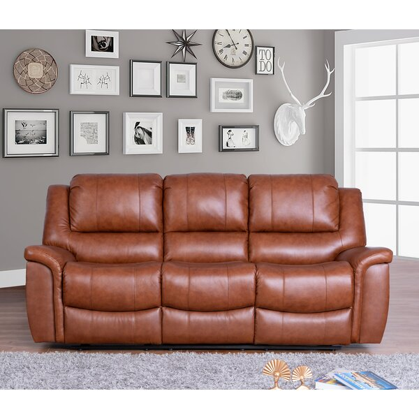 Online Shopping Quality Keziah Genuine Leather Reclining Sofa by Darby Home Co by Darby Home Co