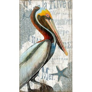 'Pelican' Graphic Art Plaque by Beachcrest Home