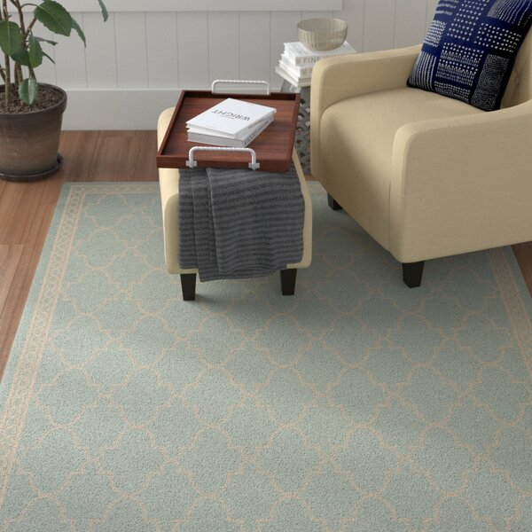 Short Aqua/Beige Outdoor Rug by Winston Porter