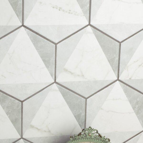 Karra 7 x 8 Porcelain Field Tile in White/Gray by EliteTile