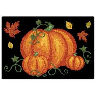Pumpkin Patch Halloween Wool Black Area Rug ByThe Holiday Aisle