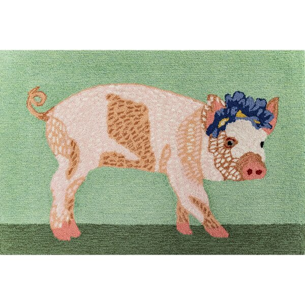 Treport Pretty in Pig Green Indoor/Outdoor Area Rug by August Grove