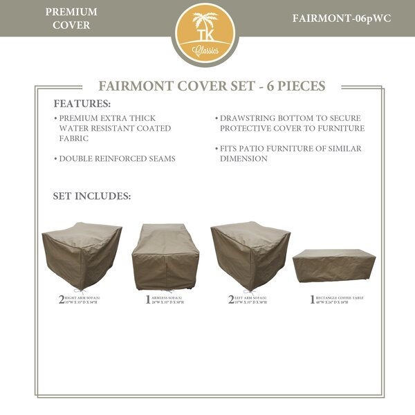 Fairmont Protective 6 Piece Water Resistant Patio Furniture Cover Set by TK Classics