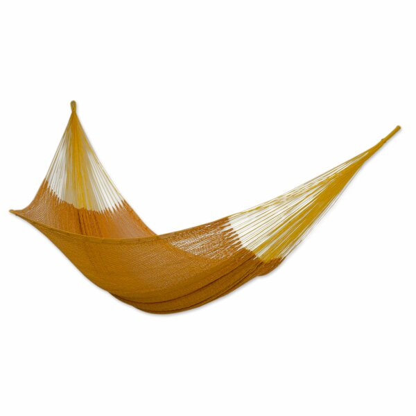 Double Person Pumpkin Sun Hand-Woven Mayan Artists of the Yucatan Natural Cotton with Hanging Accessories Included Indoor And Outdoor Hammock by Novica