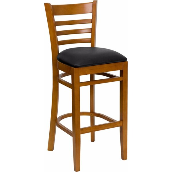 Dryden 31 Wood Bar Stool with Cushion by Red Barrel Studio