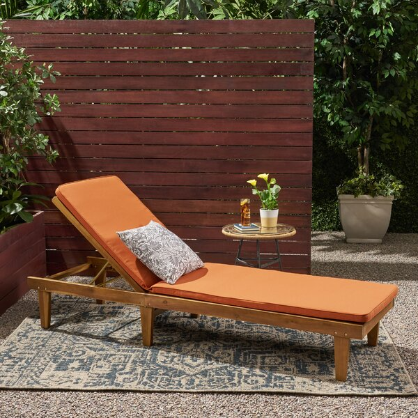 Jackie Outdoor Reclining Chaise Lounge with Cushion by Bay Isle Home Bay Isle Home