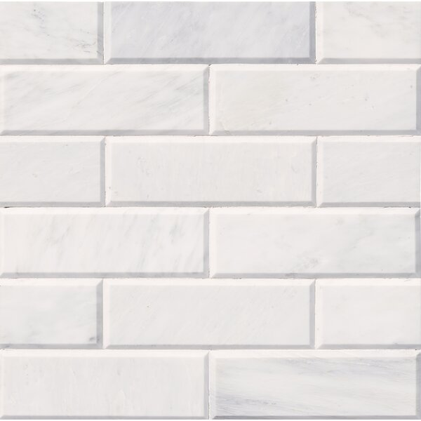 Pol And Big Bev 4 x 12 Marble Subway Tile in White by MSI