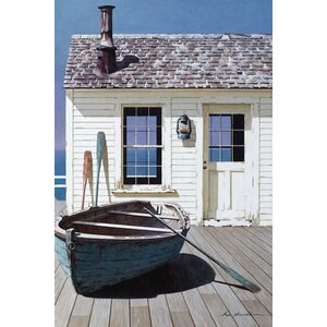 'Blue Boat on Deck' Print by East Urban Home