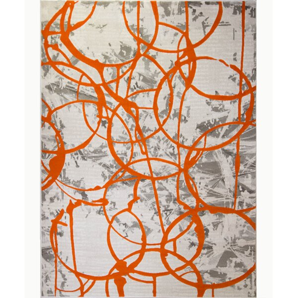 Tricia Ivory/Orange/Gray Area Rug by Zipcode Design