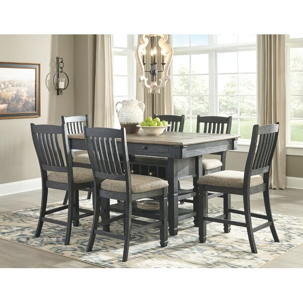 Ventanas 7 Piece Counter Height Solid Wood Dining Set by Canora Grey