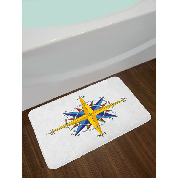 Colorful Yellow Night Blue Compass Bath Rug by East Urban Home