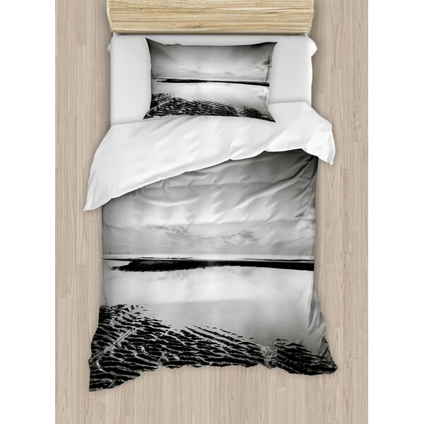 Decorations Idyllic Sunrise at Beach Rippled Seashore Dramatic Image Duvet Set by East Urban Home