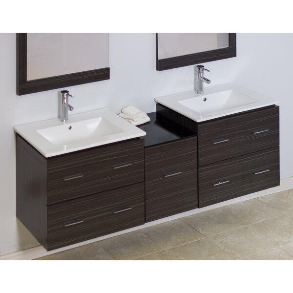 62 Double Modern Wall Mount Bathroom Vanity Set
