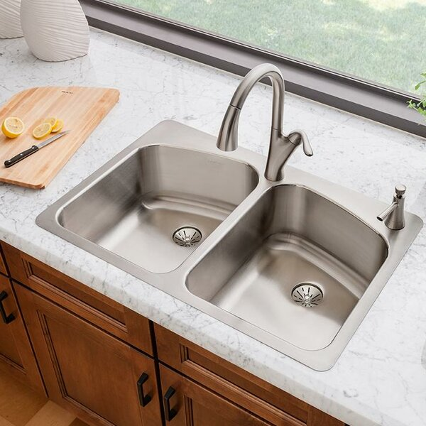 Lustertone 33 L x 22 W Double Basin Top Mount Kitchen Sink with Perfect Drain by Elkay