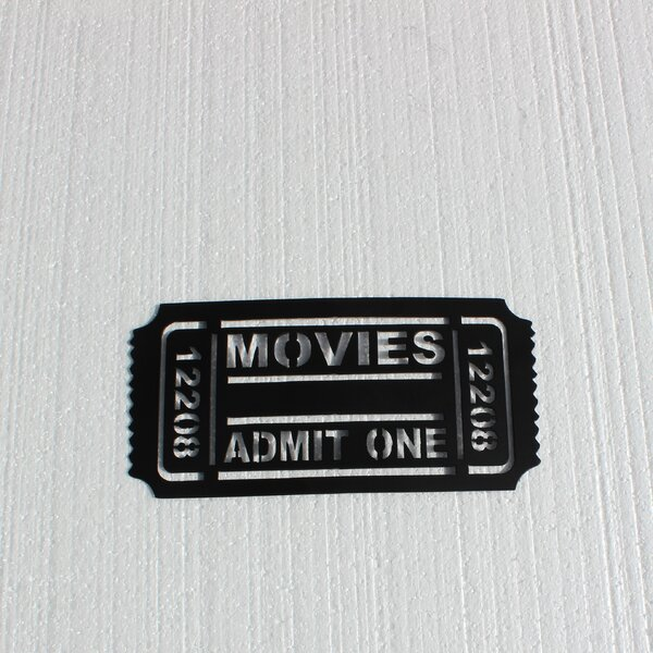 Home Theater Movie Ticket Admit One Metal Wall Dé