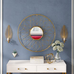 Willa Arlo Interiors Stas Round Iron Wall Mirror