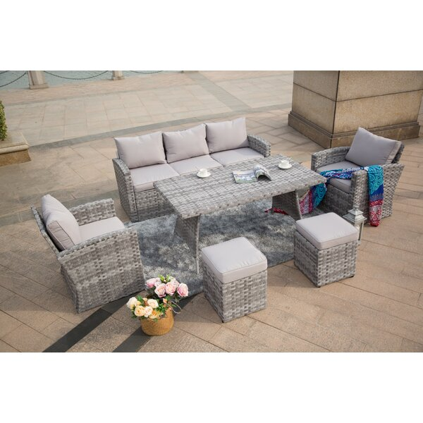 Hersey Outdoor 6 Piece Sofa Seating Group with Cushions by Bungalow Rose