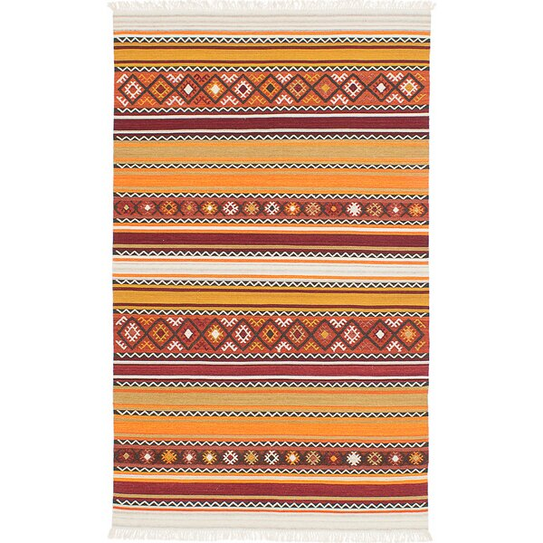 Adana Hand-Woven Wool Red/Orange Area Rug by ECARPETGALLERY