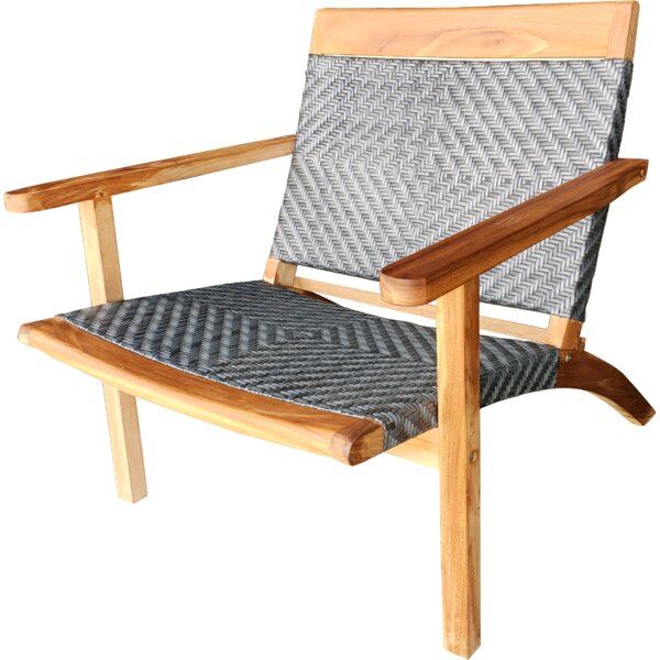 Cabrillo Teak Wood Patio Lounge And Dining Chair, Grey by Bayou Breeze Bayou Breeze