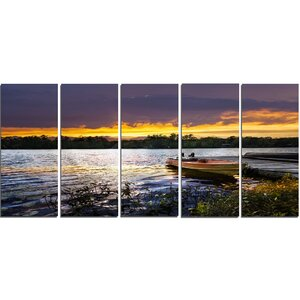Boat Docked in Lake at Sunset 5 Piece Wall Art on Wrapped Canvas Set by Design Art