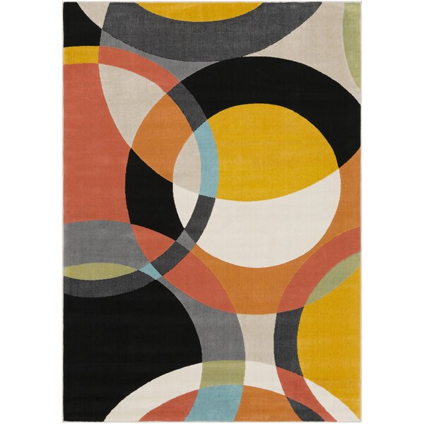 Huerta Modern Black/Yellow Area Rug by Wrought Studio