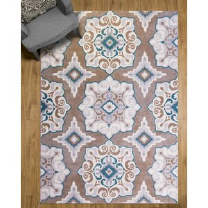Natural Cerulean Blue/Taupe Area Rug