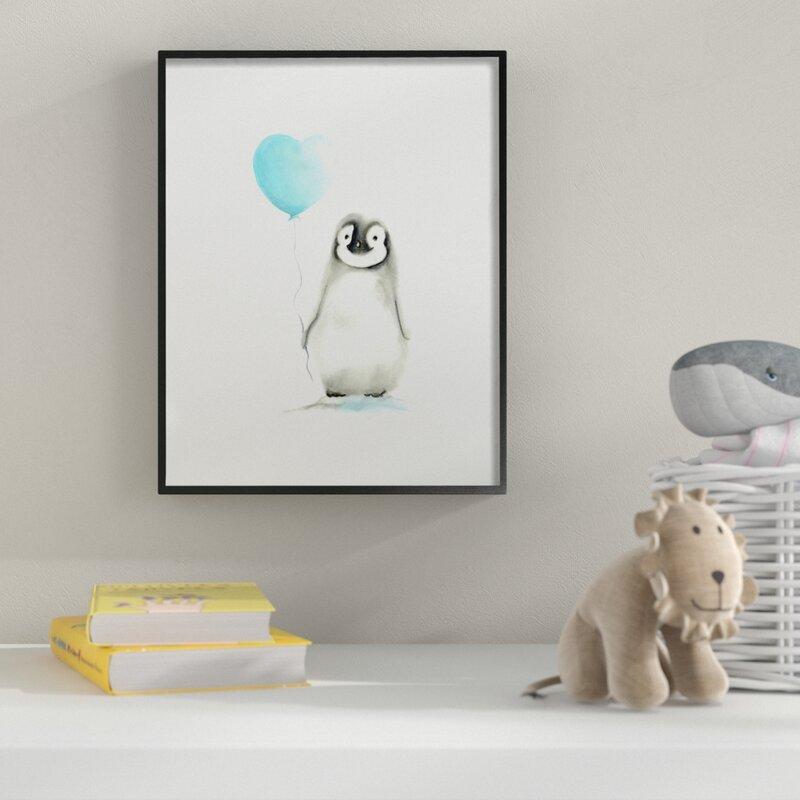 Harriet Bee Baby Penguin With Blue Balloon Wall Art