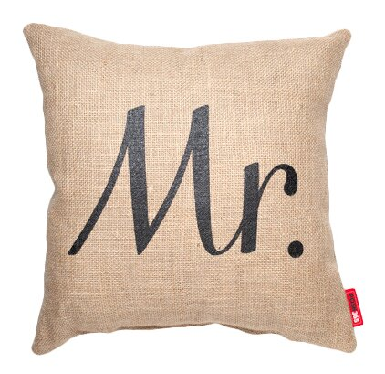 Expressive Mr. Burlap Jute Throw Pillow by Posh365