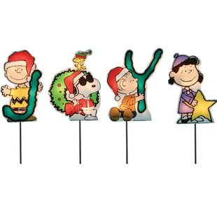 joy peanuts and snoopy christmas pathway lighted display set of 4 - Lighted Snoopy Mailbox Outdoor Christmas Decoration