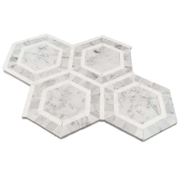 Zeta Random Sized Marble Mosaic Tile in Thassos by Splashback Tile
