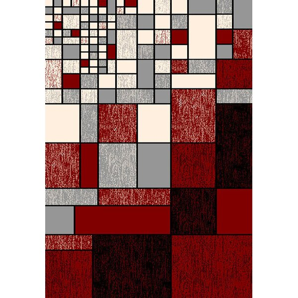 Bella Modern Contemporary Red/Gray Area Rug by Planet Rugs