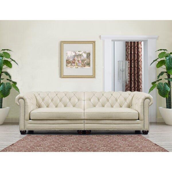 Lizete Cream Leather Chesterfield Sofa by Willa Arlo Interiors