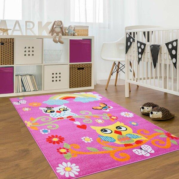 Jodie Kids Owl Pink Area Rug by Zoomie Kids