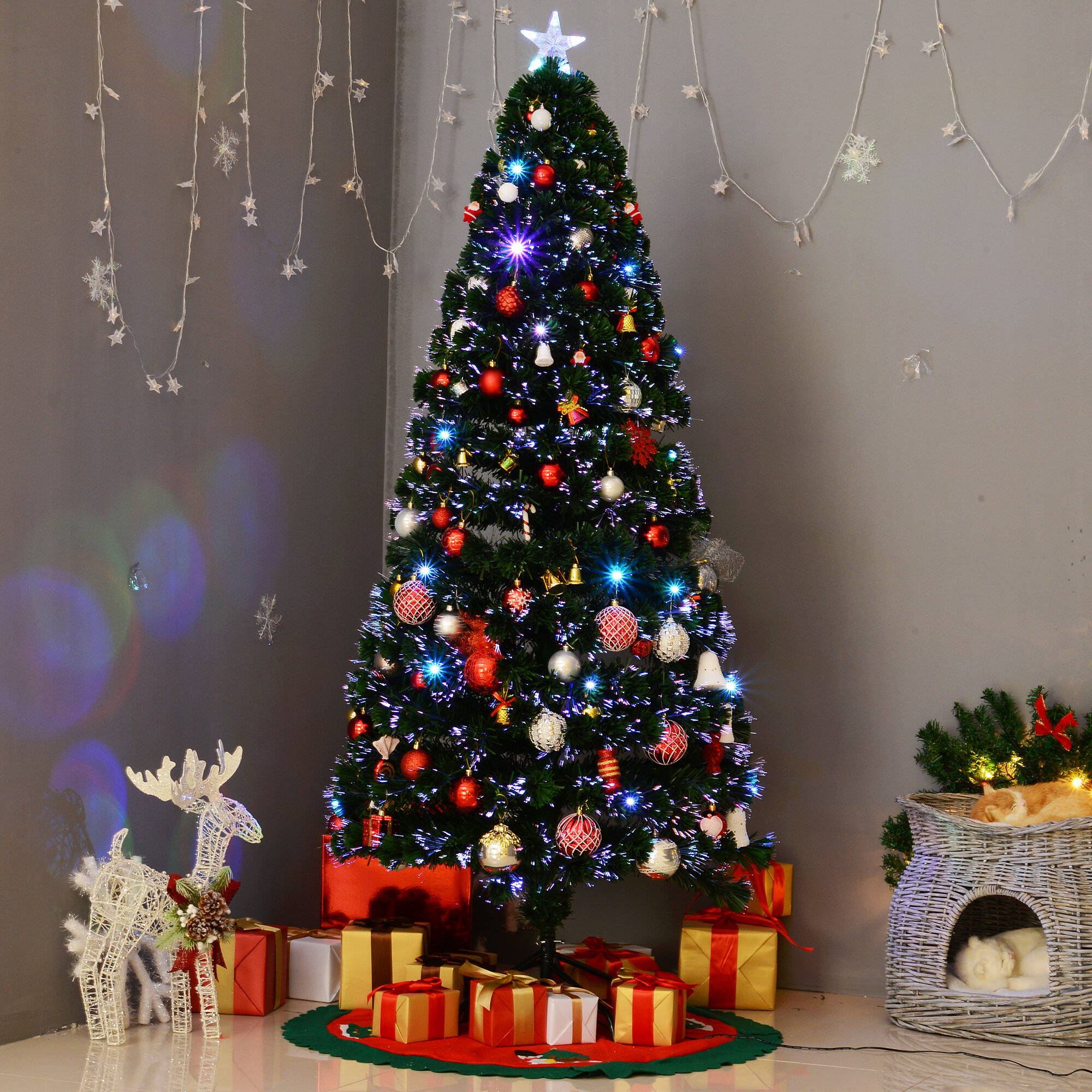The Holiday Aisle 6 Green Pine Artificial Christmas Tree With 24 Multi Color Lights Reviews Wayfair