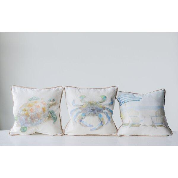 Edmondo 3 Piece Beach Cotton Throw Pillow Set by Highland Dunes
