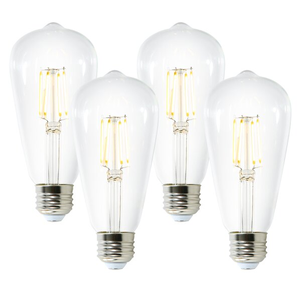 Aquella 6W E26 Dimmable LED Edison Light Bulb (Set of 4) by Light Society