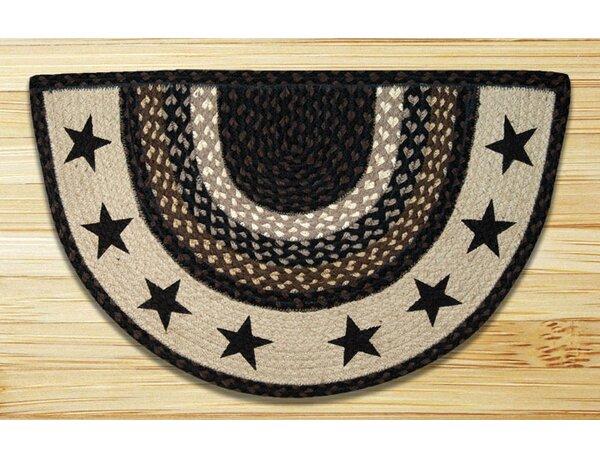 Black Stars Printed Slice Rug by Earth Rugs