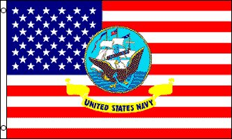 USA with Navy Logo Traditional Flag by Flags Importer