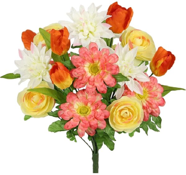 18 Stems Artificial Tulip, Dahlia and Ranunculus Greenery Mixed Bush by Admired by Nature