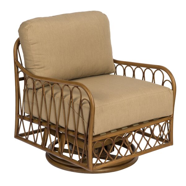 Cane Swivel Rocking Chair with Cushions by Woodard