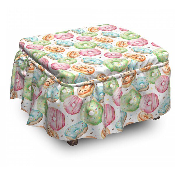 Delicious Donuts 2 Piece Box Cushion Ottoman Slipcover Set By East Urban Home