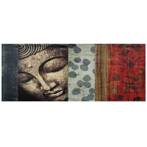 Peeking Buddha Statue Painting Print on Wrapped Canvas by Bungalow Rose