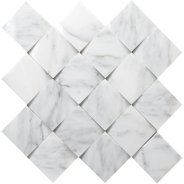 Winter Cushion Marble Mosaic Tile in Frost by Emser Tile