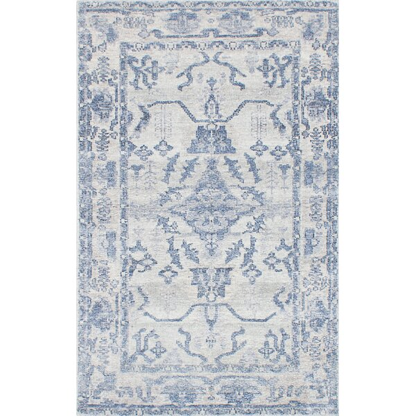 Cayla Hand-Knotted Blue/Gray Area Rug by One Allium Way
